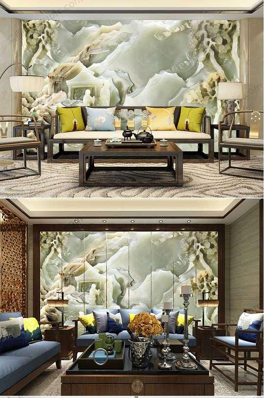 中国风玉雕山水背景墙-众图网