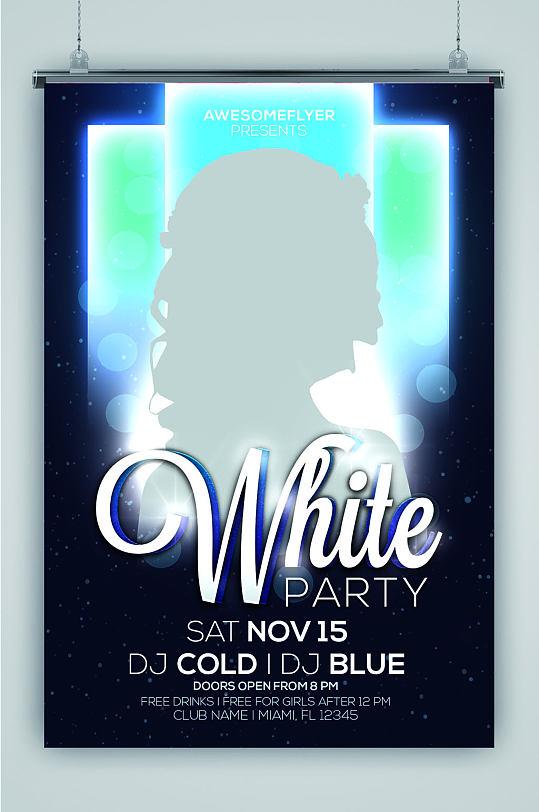 白色派对DJ欧美炫酷海报-众图网