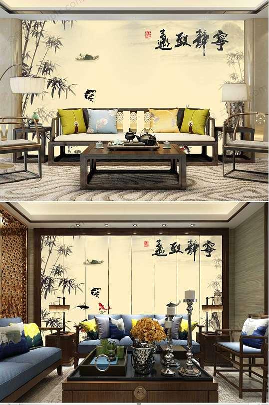 中国风水墨山水背景墙-众图网