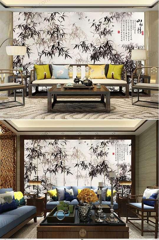水墨山水竹子背景墙-众图网