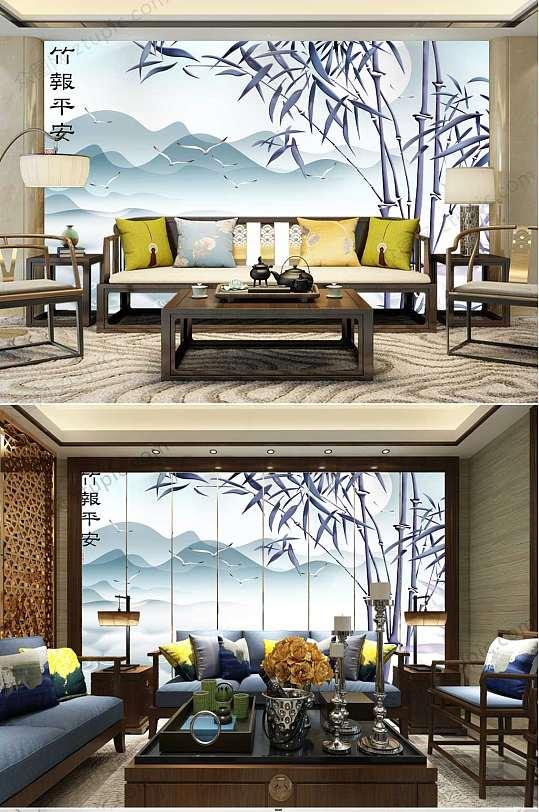 竹报平安山水背景墙-众图网