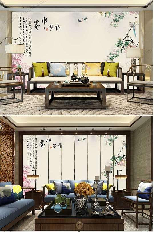 淡雅中国风水墨背景墙-众图网