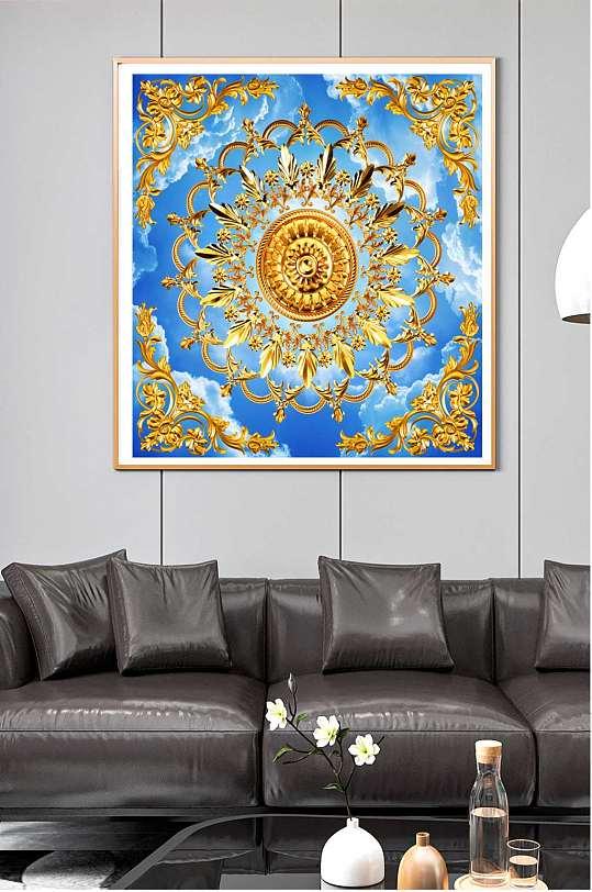 蓝天金色花边装饰画-众图网