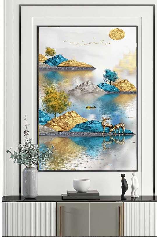 抽象山水玄关装饰画-众图网