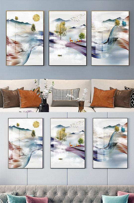 新中式意境山水玄关装饰画-众图网