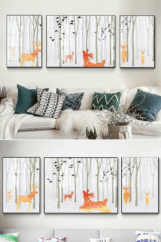 简约手绘森林麋鹿装饰画-众图网