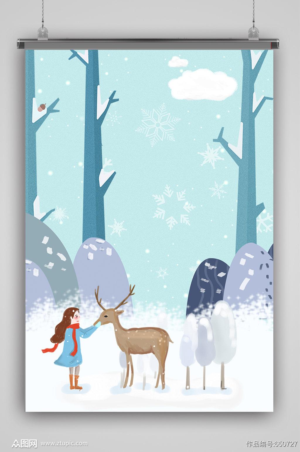 卡通麋鹿女孩圣诞节海报背景素材