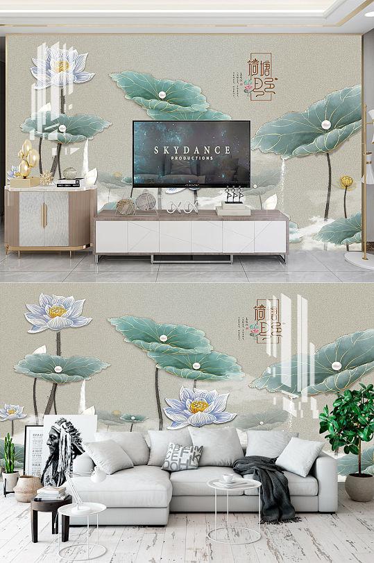新中式荷花电视背景墙-众图网