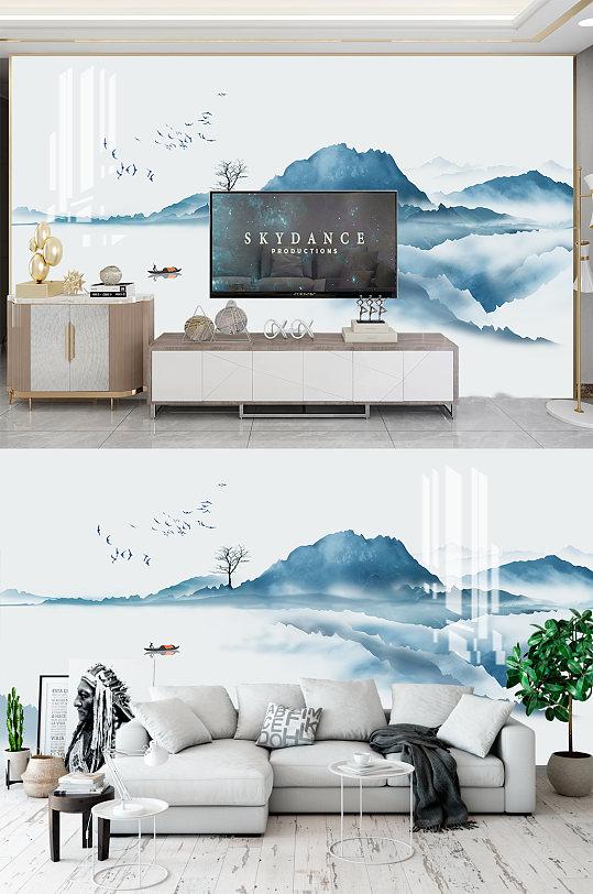 简约山水电视背景墙-众图网