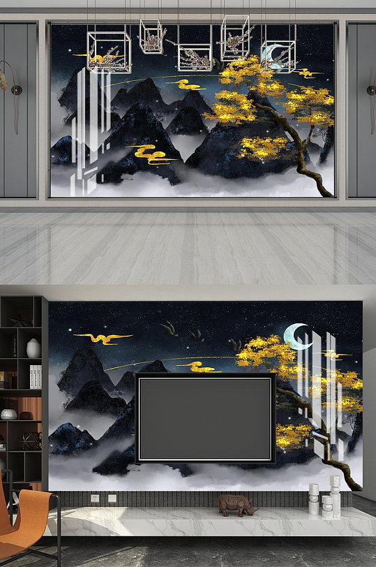 欧式抽象水墨背景墙-众图网