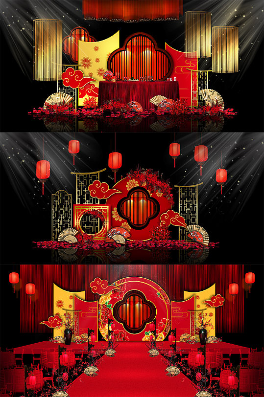 红色中式婚礼舞美主题-众图网