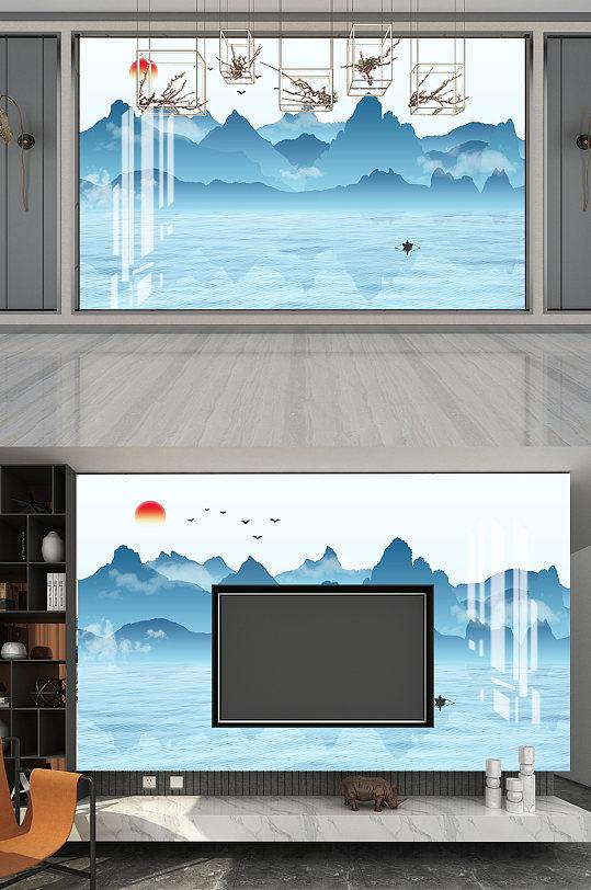 山水意境电视背景墙-众图网