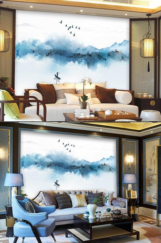 意境蓝色山水画客厅背景墙-众图网