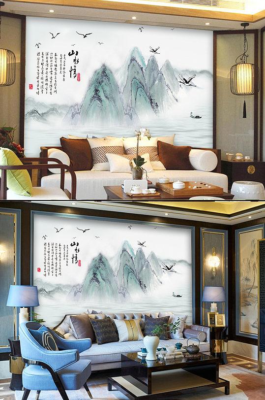 山水情背景墙-众图网