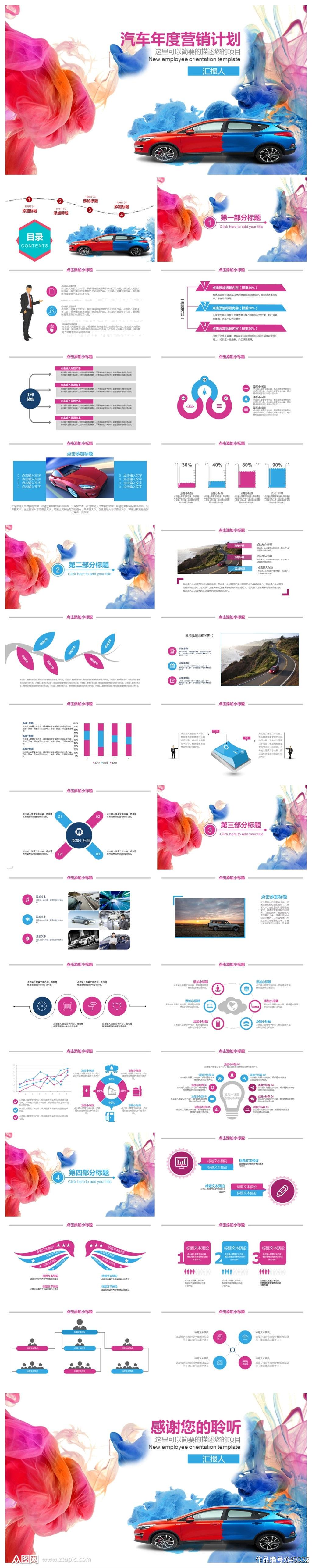 汽车年度营销计划PPT模板素材
