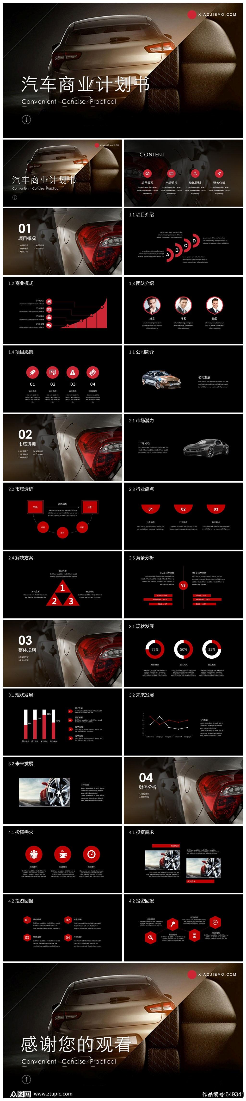 汽车商业计划书PPT模板素材