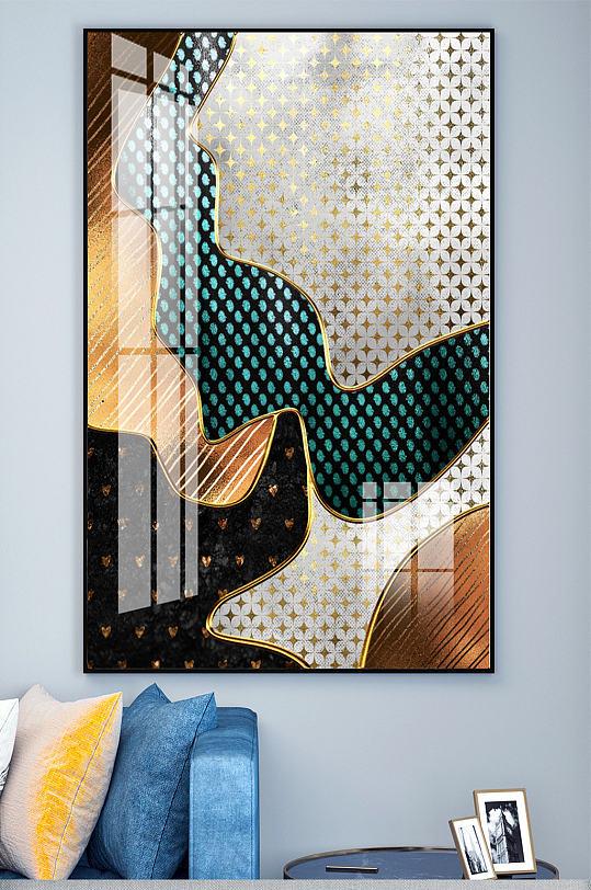 波浪金属绿色拼色装饰画-众图网