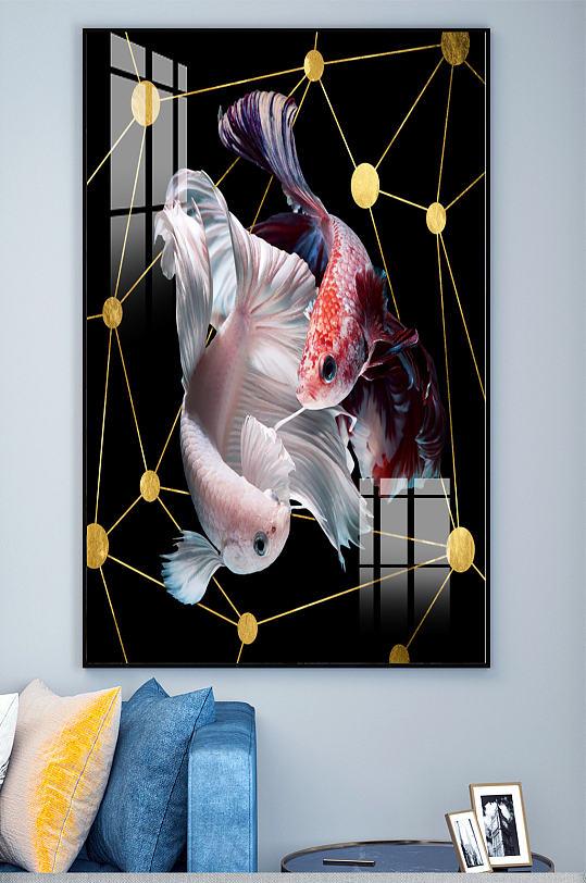 金鱼锦鲤几何电表箱装饰画-众图网