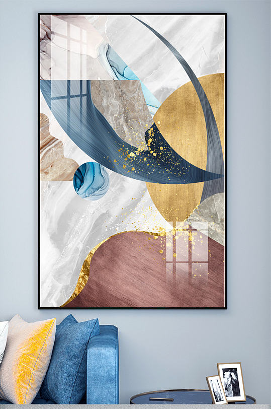 大理石纹抽象拼色装饰画-众图网