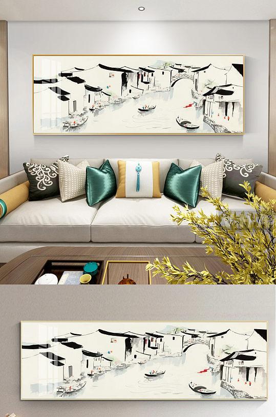 新中式水墨江南沙发装饰画-众图网