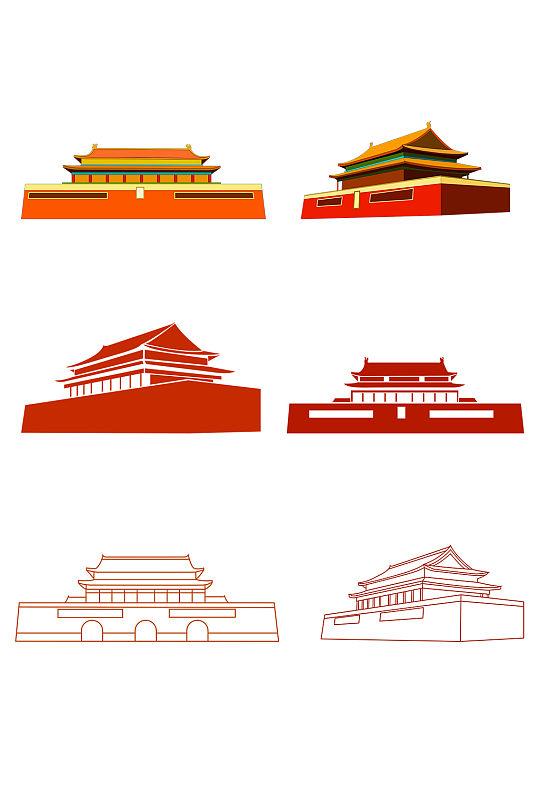 国庆节天安门剪纸手绘素材 党建素材矢量图