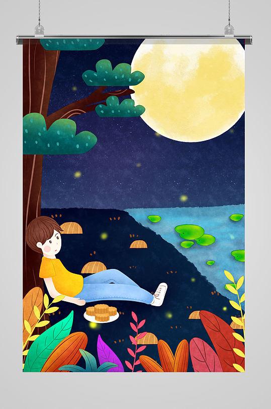 湖边赏月的男孩插画-众图网