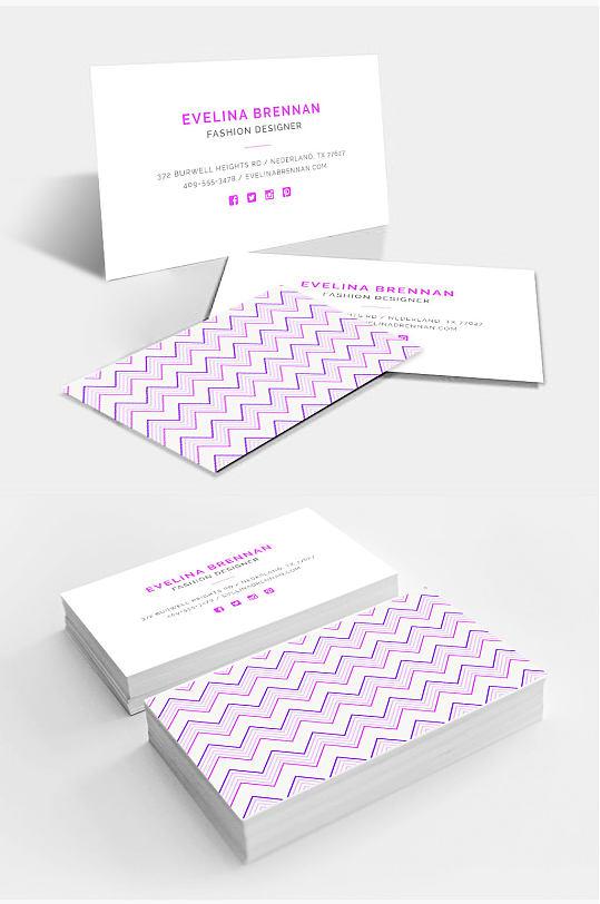 紫色波浪纹个性名片设计图片-众图网