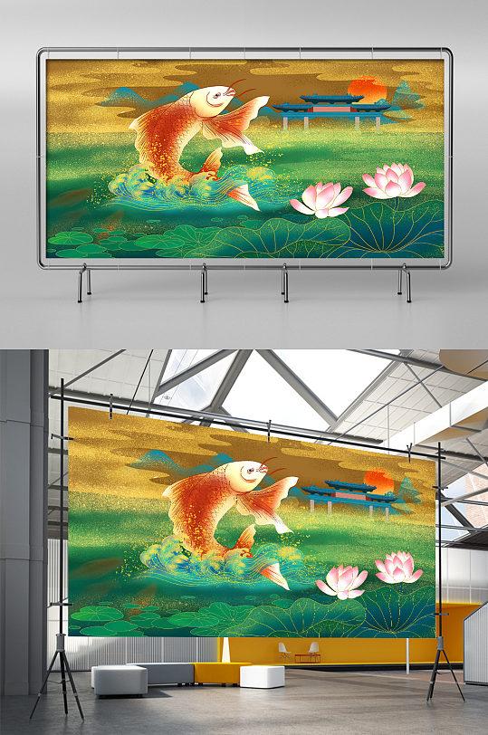 鲤鱼跃龙门中式插画-众图网