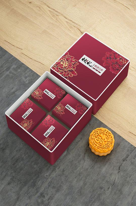 正方形月饼礼盒包装设计样机