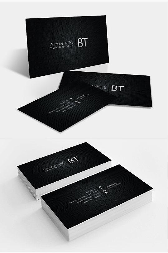 黑色极简商务名片设计-众图网