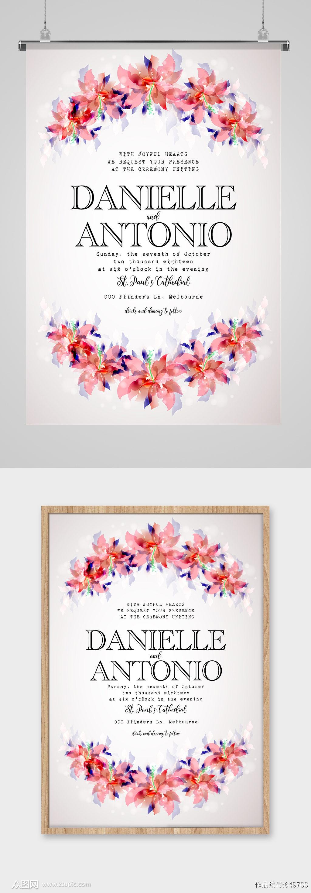 粉红色花环英文海报素材
