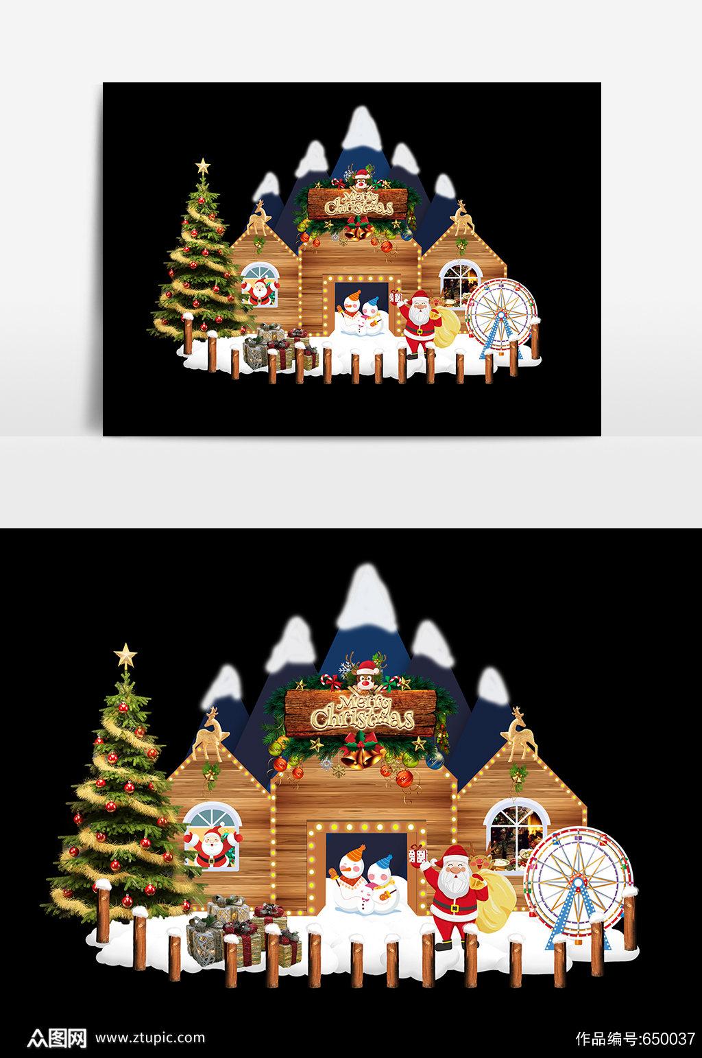 圣诞节小屋美陈设计素材