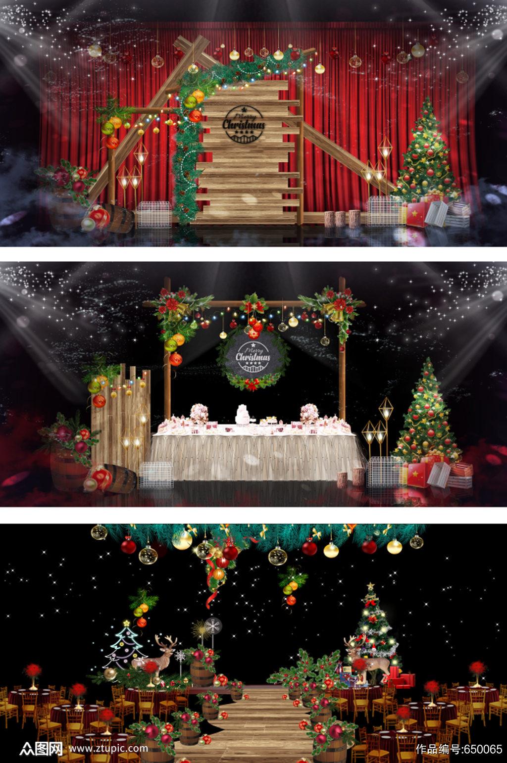 圣诞节餐厅舞台美陈设计素材