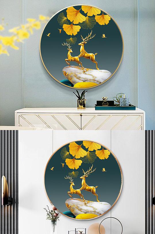 现代麋鹿玄关圆形装饰画-众图网