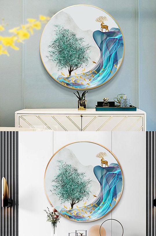轻奢麋鹿玄关圆形装饰画-众图网