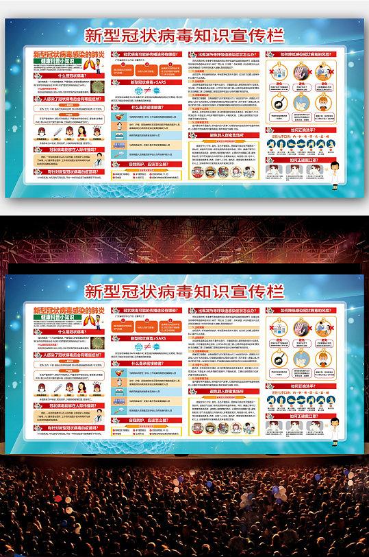 大气预防新型冠状病毒知识宣传栏海报-众图网