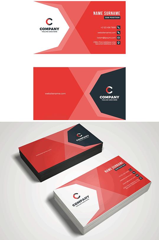 创意红色名片卡片-众图网