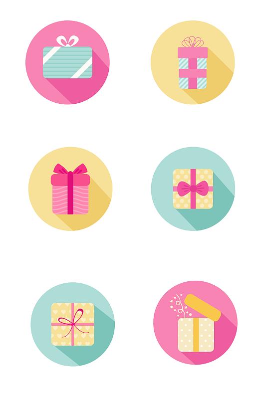 扁平化生日礼物图标矢量图-众图网
