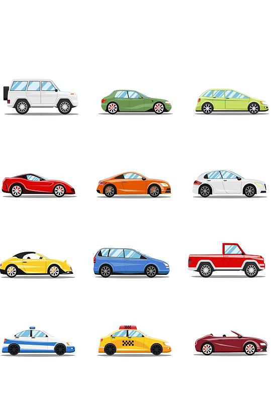 卡通交通工具小汽车素材-众图网