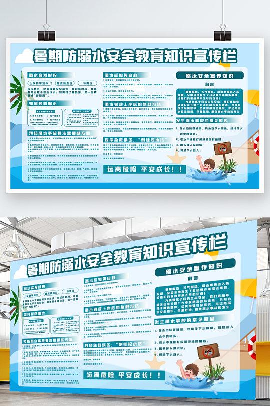 暑期防溺水安全教育知识展板-众图网