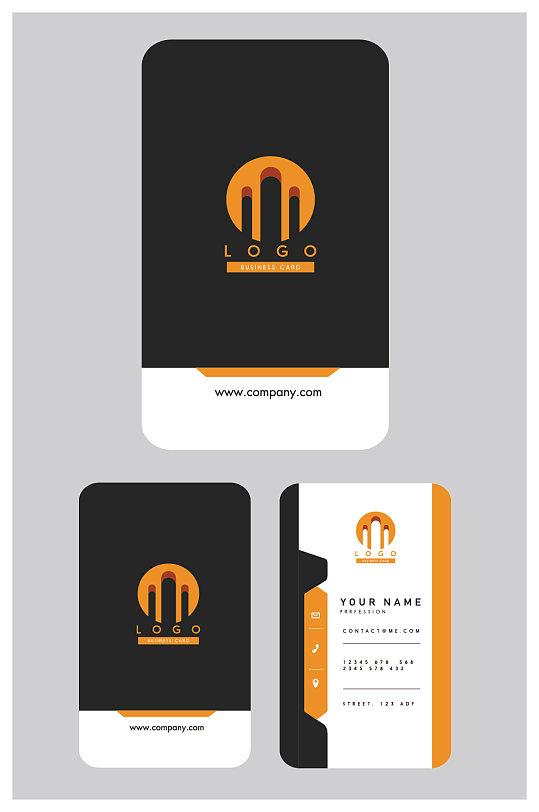 橙黑色高档名片设计-众图网