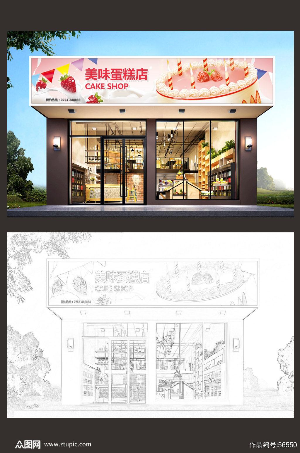 漂亮面包店蛋糕店门头设计图片素材