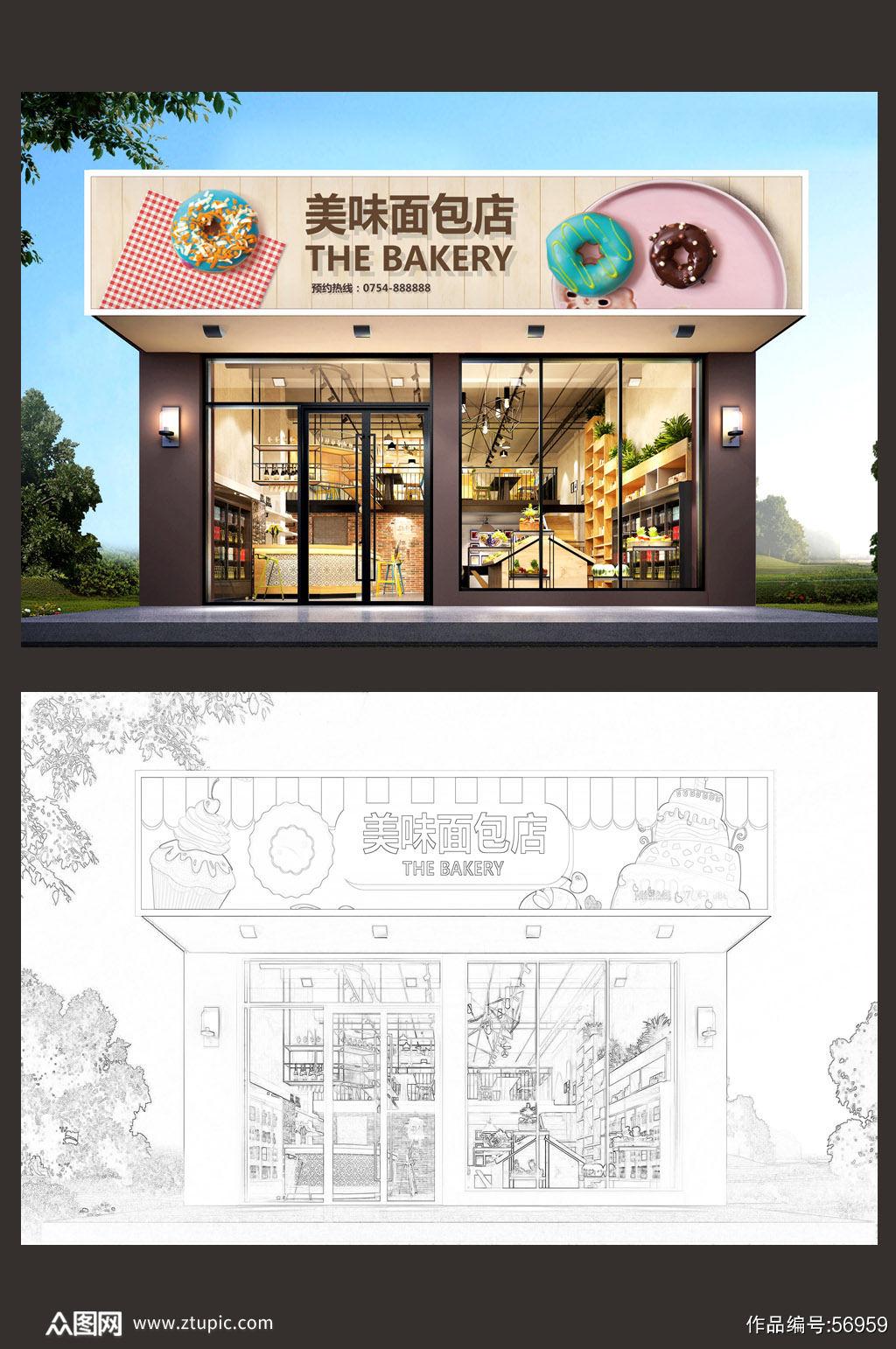 高档面包店蛋糕店门头设计市集门头素材