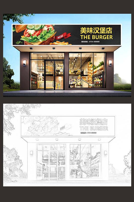 高档汉堡店门头设计市集门头-众图网