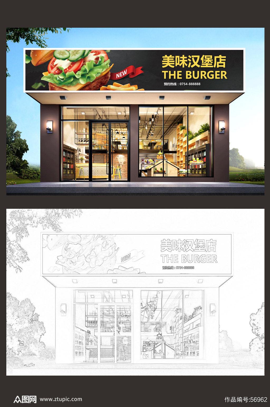 高档炸鸡汉堡店门头设计市集门头素材