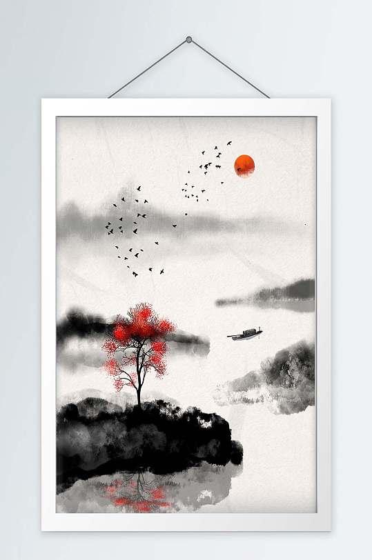手绘水墨山水画装饰画-众图网