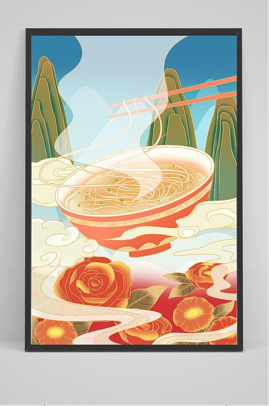 中国风古风美食面条意境插画-众图网