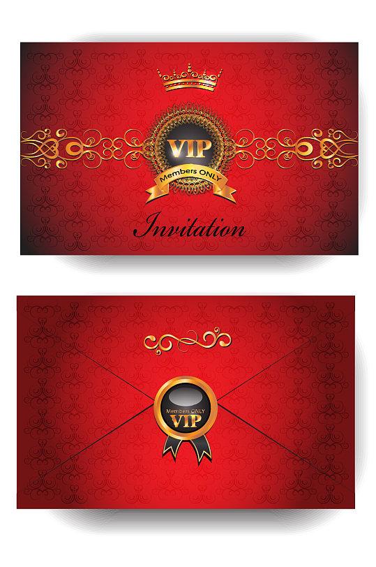 奢华红色尊贵VIP会员卡-众图网