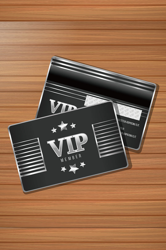 黑色高端金属VIP会员卡模板-众图网