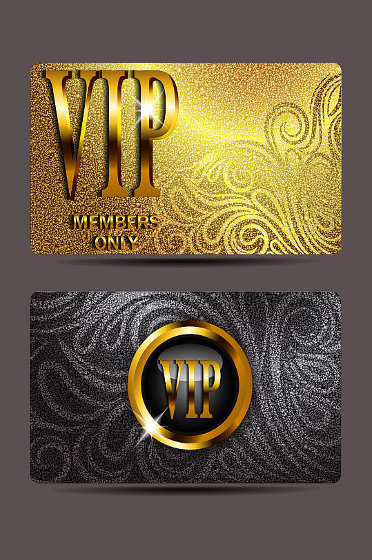 精品欧式花纹金属VIP会员卡模板设计-众图网